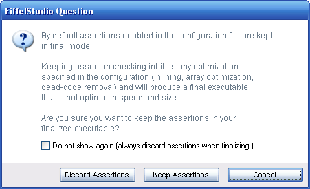 Dialog shown when finalizing an Eiffel project